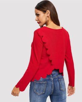Asymmetrical Hem Pullover Sweatshirt Autumn Office Lady Women Sweatshirt