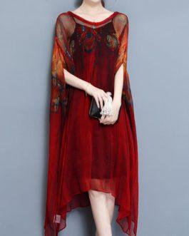 Batwing Sleeve Printed Irregular Hem Dress