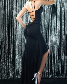 Black Club Dress Sleeveless Ruched Backless High Low Sexy Party Dress