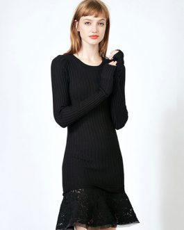 Black Knit Dress Lace Ruffle Long Sleeve Women Spring Dress