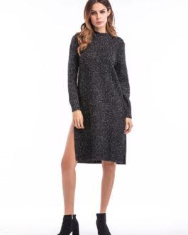 Black Knit Dress Round Neck Long Sleeve Split Women's Casual Dresses