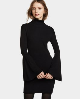 Black Knitted Dress Bell Long Sleeves High Neck Women Dress