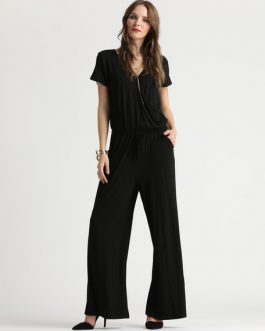 Black One Piece Jumpsuit With Pockets
