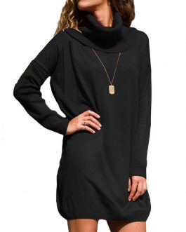 Black Sweater Dress High Collar Long Sleeve Knit Mini Dress