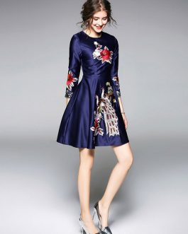 Blue Party Dress Women Skater Dress Round Neck 3/4 Length Sleeve Embroidered Flare Dress