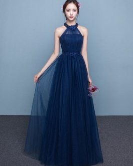 Blue Prom Dress 2019 Long Tulle Beading Occasion Dress Halter Sash Floor Length Party Dress