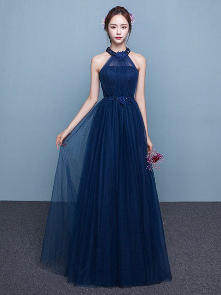 Long Tulle Beading Occasion Dress Halter Sash Floor Length ...