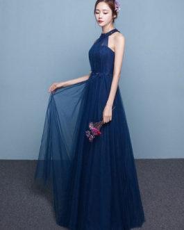 Blue Prom Dress 2019 Long Tulle Beading Occasion Dress Halter Sash Floor Length Party Dress