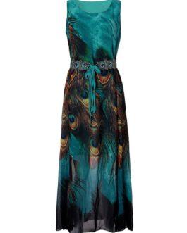 Bohemian Peacock Printed Maxi Dresses