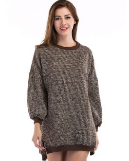 Brown Sweater Dress Long Sleeve Split Knitted Fall Dress