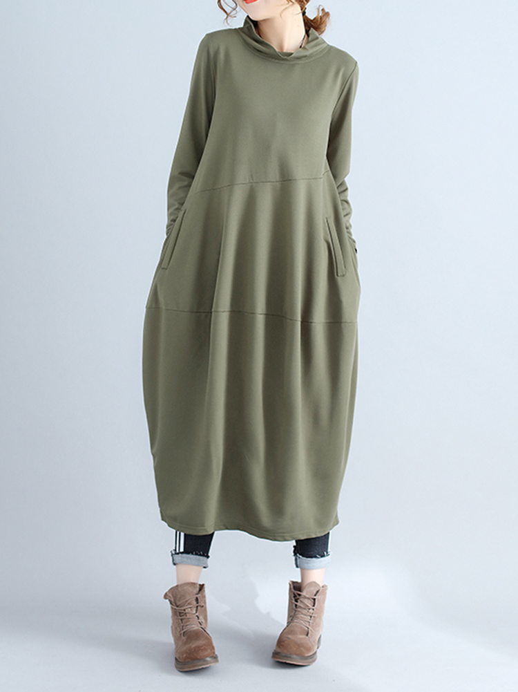 Casual Women Solid Color Loose Stand Collar Long Sleeve Dress with Pockets1