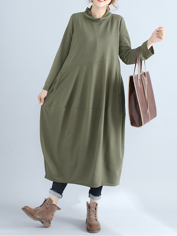 Casual Women Solid Color Loose Stand Collar Long Sleeve Dress with Pockets2