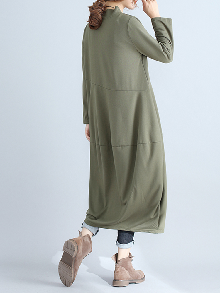 Casual Women Solid Color Loose Stand Collar Long Sleeve Dress with Pockets3