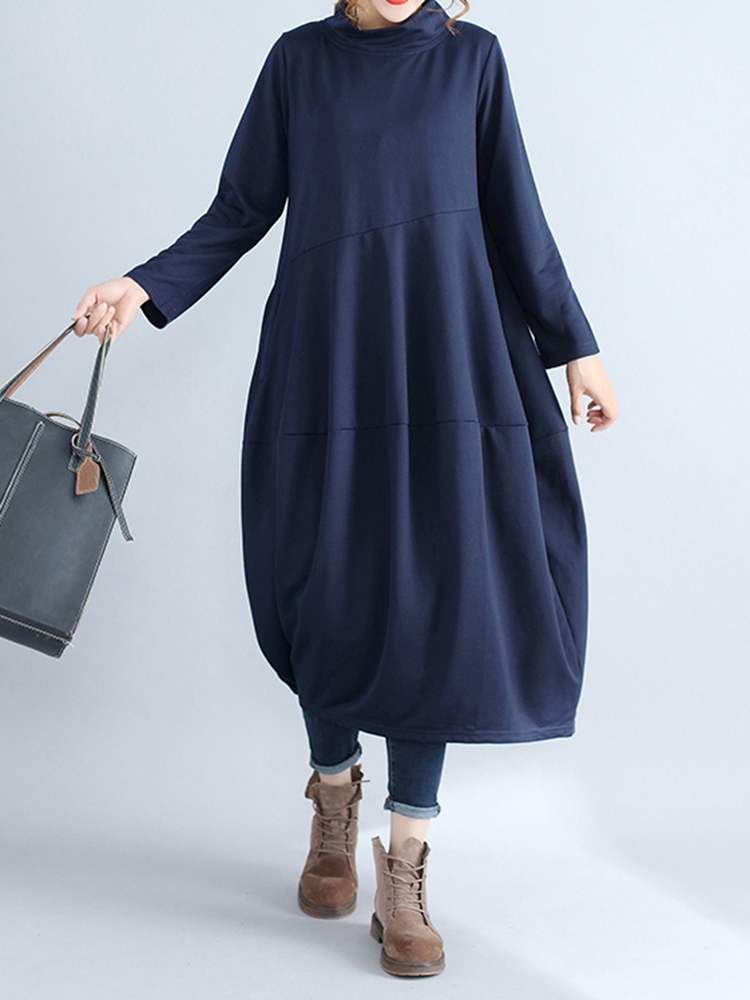 Casual Women Solid Color Loose Stand Collar Long Sleeve Dress with Pockets4