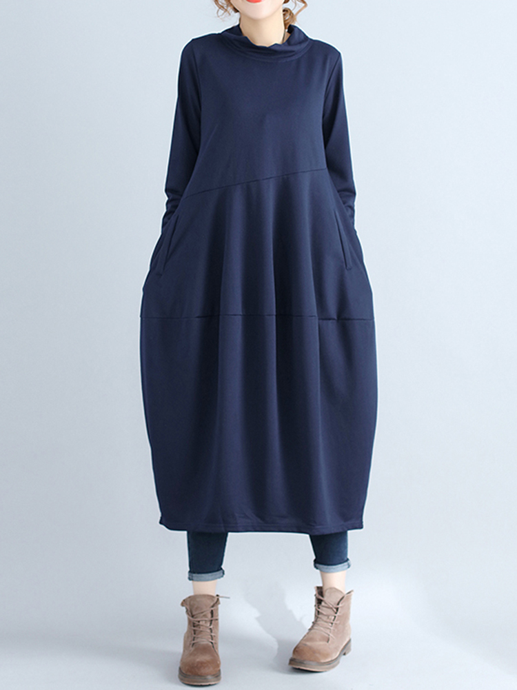 Casual Women Solid Color Loose Stand Collar Long Sleeve Dress with Pockets5