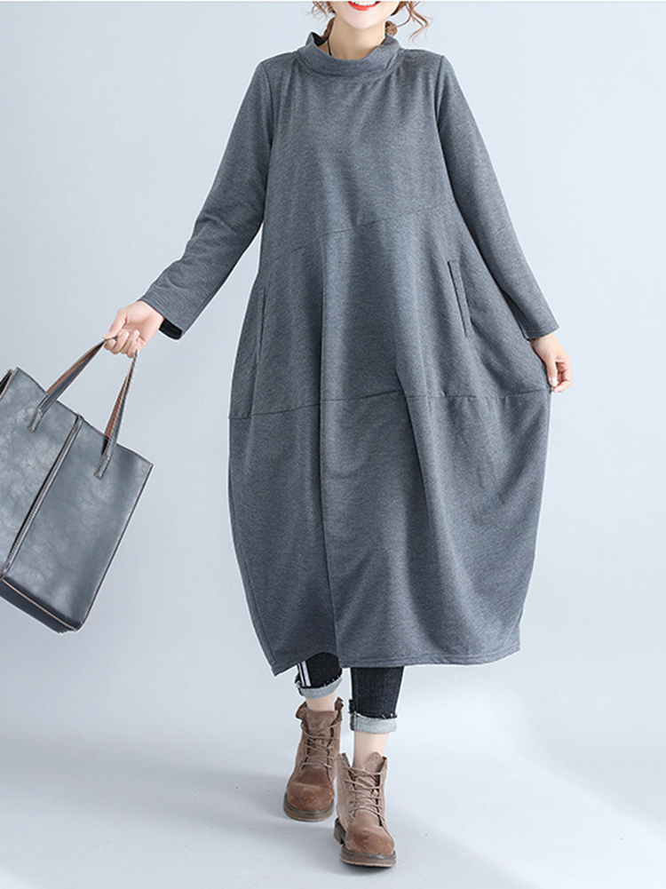 Casual Women Solid Color Loose Stand Collar Long Sleeve Dress with Pockets6