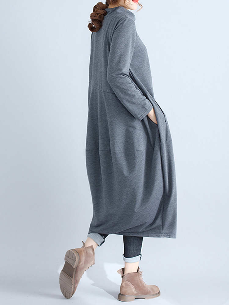 Casual Women Solid Color Loose Stand Collar Long Sleeve Dress with Pockets7