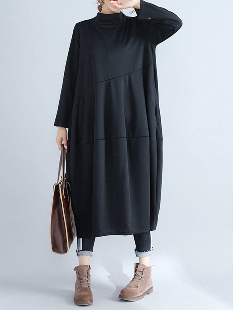 Casual Women Solid Color Loose Stand Collar Long Sleeve Dress with Pockets9
