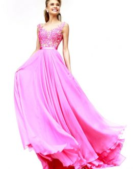 Chiffon Lace Evening Party Dress In Low Back