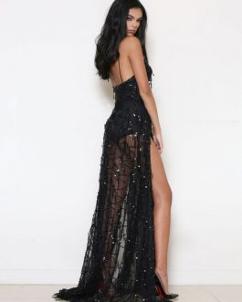 Club Dress Women's Strappy Sleeveless Sequins Low Back High Slit Semi Sheer Sexy Maxi Dress