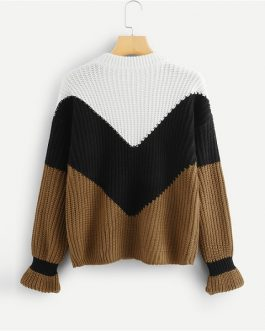 Colorblock Chevron Jumper 2018 Autumn Winter Long Sleeve Round Neck Casual Jumper