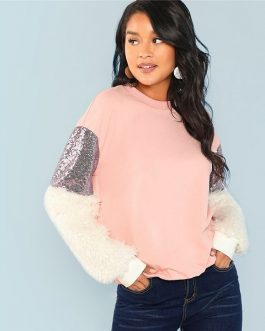 Contrast Faux Fur Sleeve Colorblock Sweatshirt 2018 Autumn Women Sweatshirts