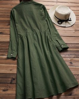 Cotton Stand Collar Pleated Long Sleeve Dress