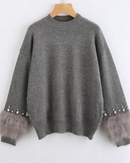 Crew Neck Casual Pullovers Autumn Elegant Long Sleeve Sweater