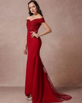 Dress Mermaid Backless Evening Dress fishtail Lace Beading Court Train Red Carpet Dress