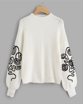 Elegant Casual Round Neck Long Sleeve Sweater Women Autumn Pullovers Sweaters