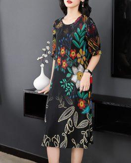 Elegant Flower Printed Silk Dress