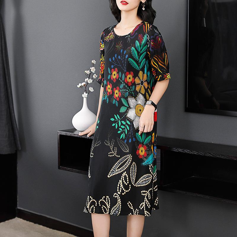 Elegant Flower Printed Silk Dress 2