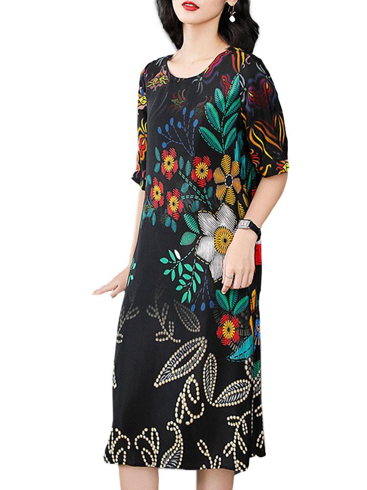 Elegant Flower Printed Silk Dress 4