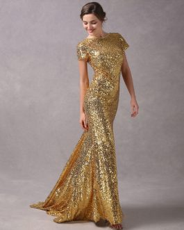 Evening Dresses Light Gold Mermaid Short Sleeve Formal Dress With Train