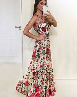 Floral Party Dress Maxi Formal Dress Backless Sleeveless Illusion Neckline Women Long Dress
