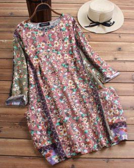 Floral Print Crew Neck 3/4 Sleeve Dress