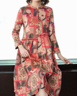 Floral Printing Dress Long-sleeved Dresses
