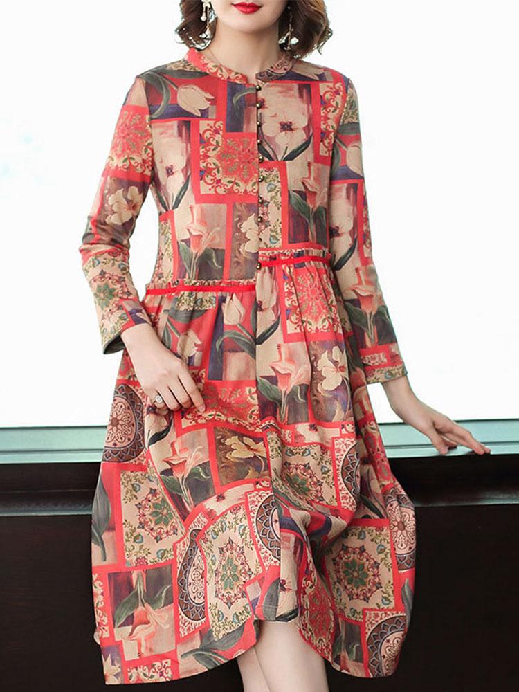Floral Printing Dress Long sleeved Dresses