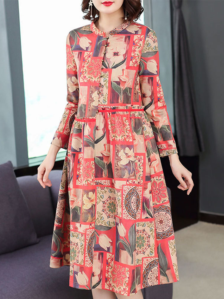 Floral Printing Dress Long sleeved Dresses1