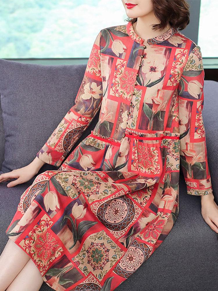 Floral Printing Dress Long sleeved Dresses2