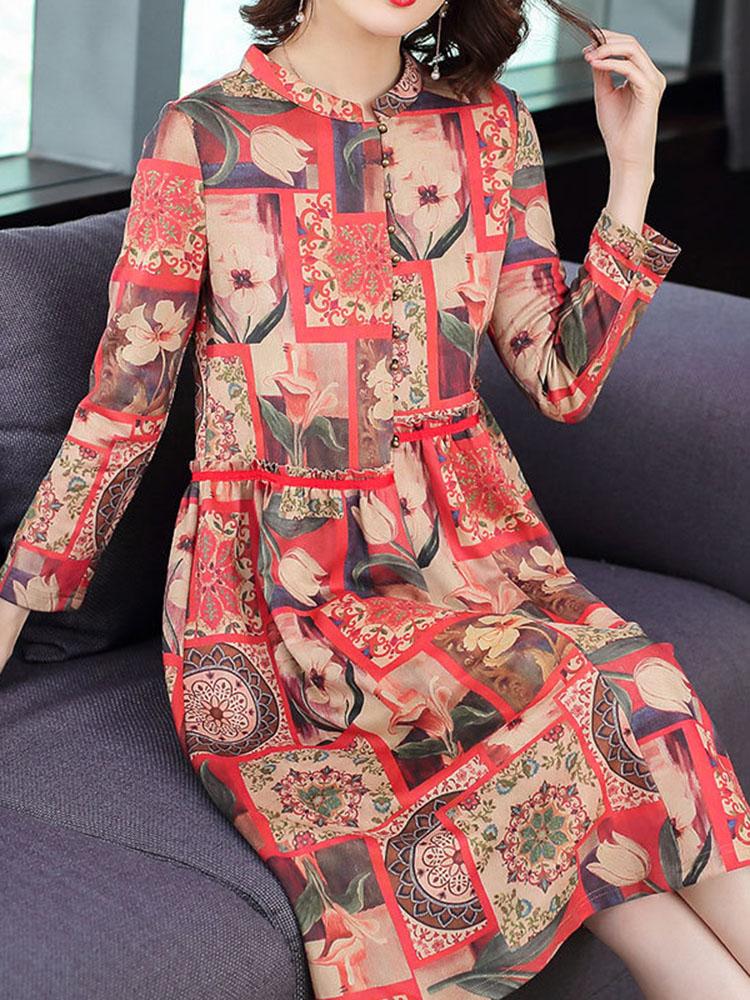 Floral Printing Dress Long sleeved Dresses3