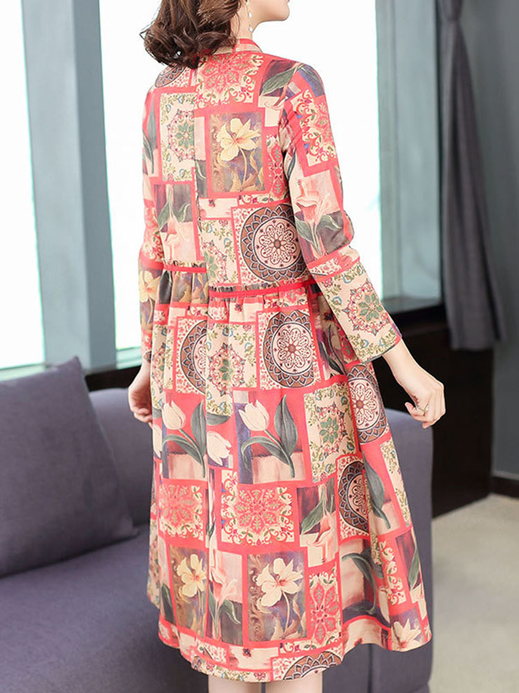Floral Printing Dress Long sleeved Dresses4