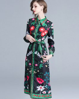 Floral Shirt Dress Long Sleeve Buttons Printed Maxi Dress