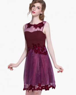 Fuchsia Embroidered Sleeveless Layered Homecoming Dress Wedding Guest Dress