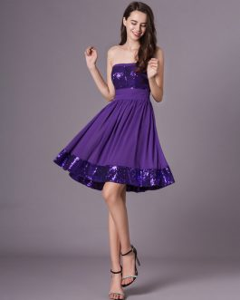 Grape Purple Strapless Sequined Short Chiffon Dress