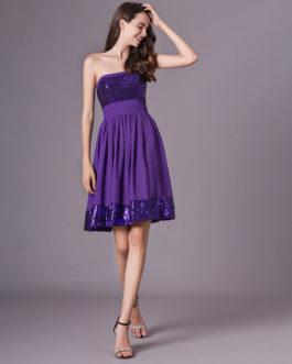 Grape Purple Strapless Sequined Short Chiffon Dress