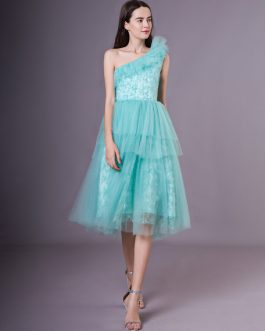 Green Tulle One Shoulder Short Homecoming Dress