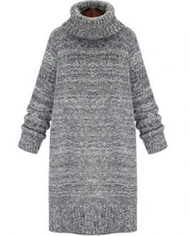 Grey Sweater Dress Turtleneck Long Sleeve Knitted Winter Dress