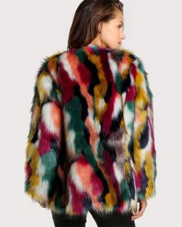 Multicolor Long Sleeve Collarless Casual Winter Fur Coats