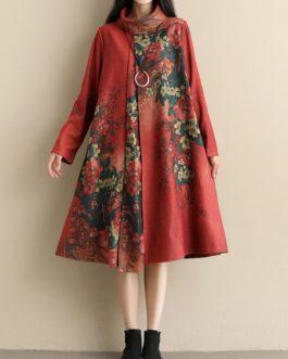 High Collar Long Sleeve Print Dress
